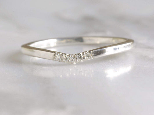 Sterling Silver Moissanite V Ring | Silver Sculptor