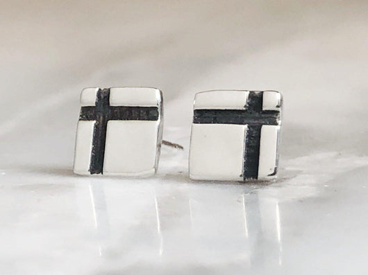 Delicate Geometric Sterling Silver Studs | Silver Sculptor