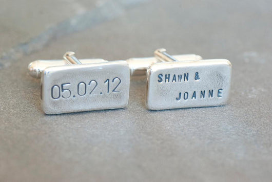 Personalized Date and Names Wedding Cufflinks | Silver Sculptor