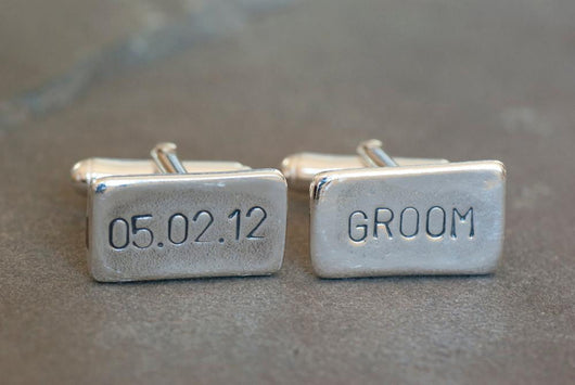 Personalized Wedding Date and Groom Cufflinks | Silver Sculptor