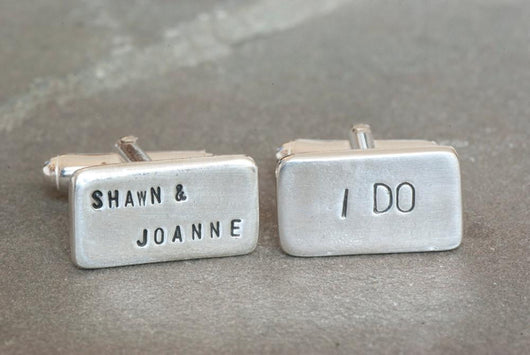 Personalized I Do and Bride and Grooms Names Wedding Cufflinks | Silver Sculptor