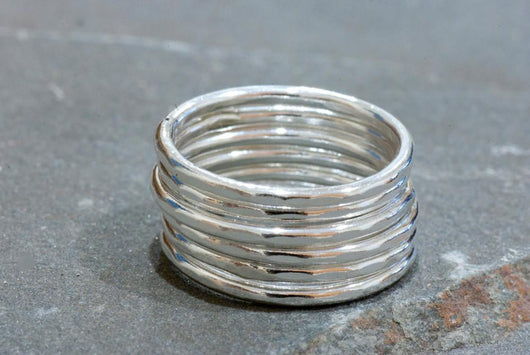 Sterling Silver Hammered Stacking Rings (set of 6) | Silver Sculptor