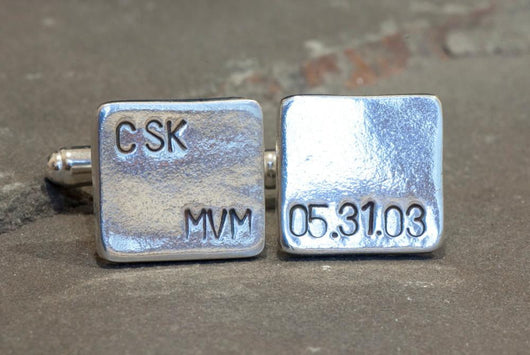 Personalized Monogrammed Cufflinks with Date | Silver Sculptor