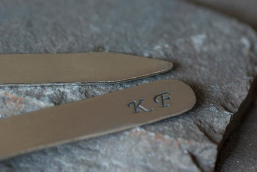 Personalized Monogrammed Shirt Collar Stays | Silver Sculptor