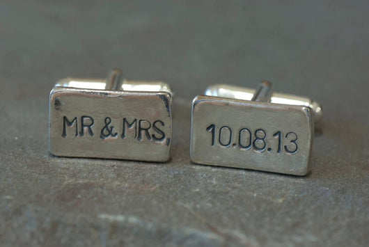 Personalized Sterling Silver Mr & Mrs and Date Cufflinks | Silver Sculptor