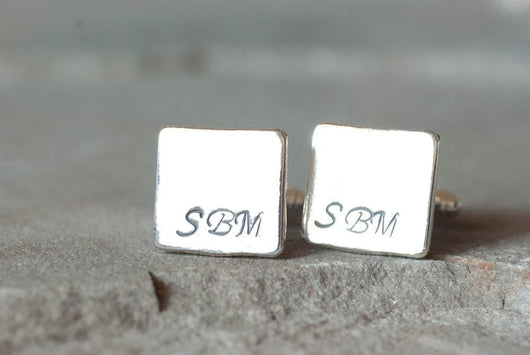 Customized Sterling Silver Monogrammed Square Cufflinks | Silver Sculptor