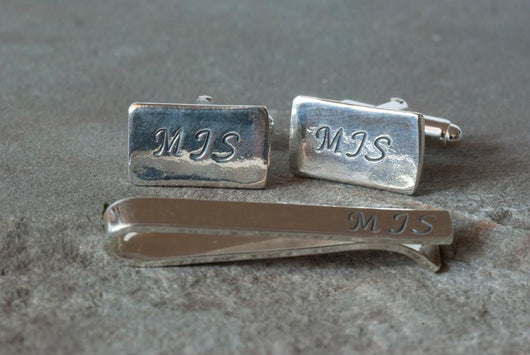 Personalized Monogrammed Cufflinks and Tie Bar | Silver Sculptor