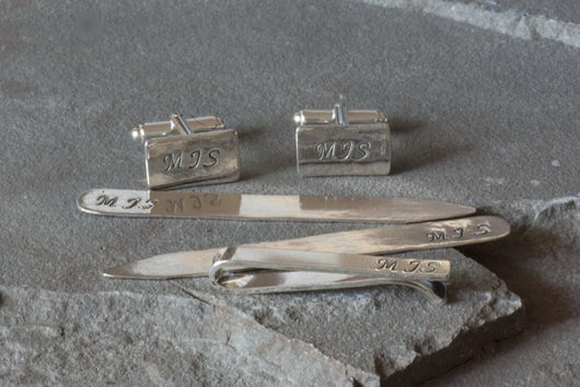 Set of Sterling Silver Monogrammed Cufflinks, Tie Bar and Collar Stays | Silver Sculptor