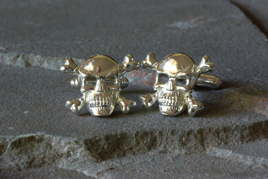 Skull and Crossbones Sterling Silver Cufflinks | Silver Sculptor