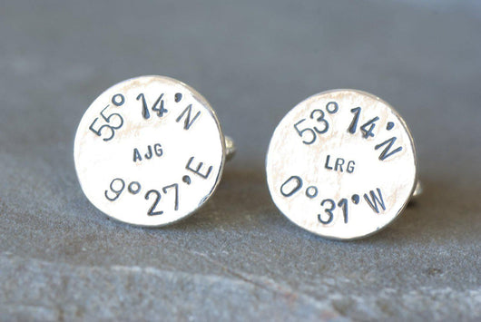 Personalized Longitude and Latitude and Monogrammed Cufflinks | Silver Sculptor