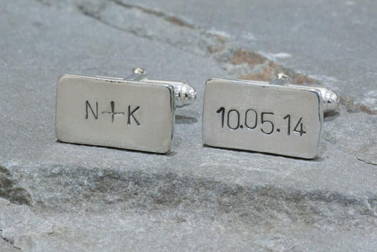 Personalized Initials and Wedding Date Cufflinks | Silver Sculptor
