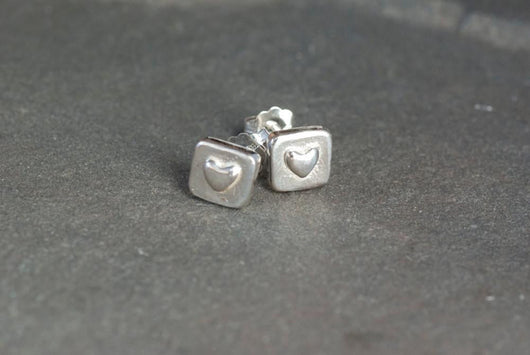 Sterling Silver Square Heart Stud Earrings | Silver Sculptor