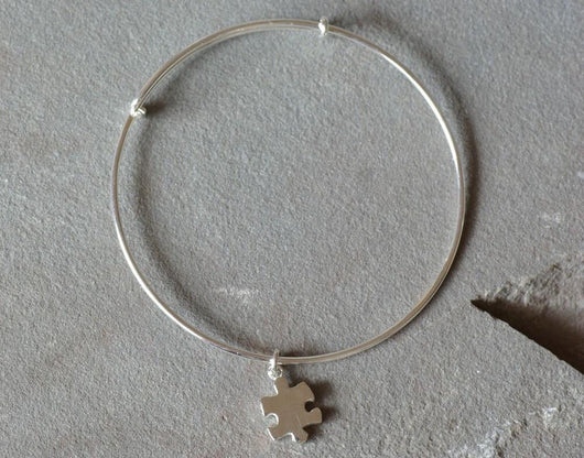 Sterling Silver Puzzle Piece Charm Adjustable Bracelet | Silver Sculptor