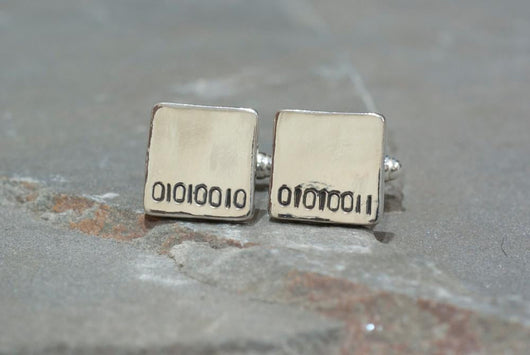 Personalized Binary Code Cufflinks | Silver Sculptor