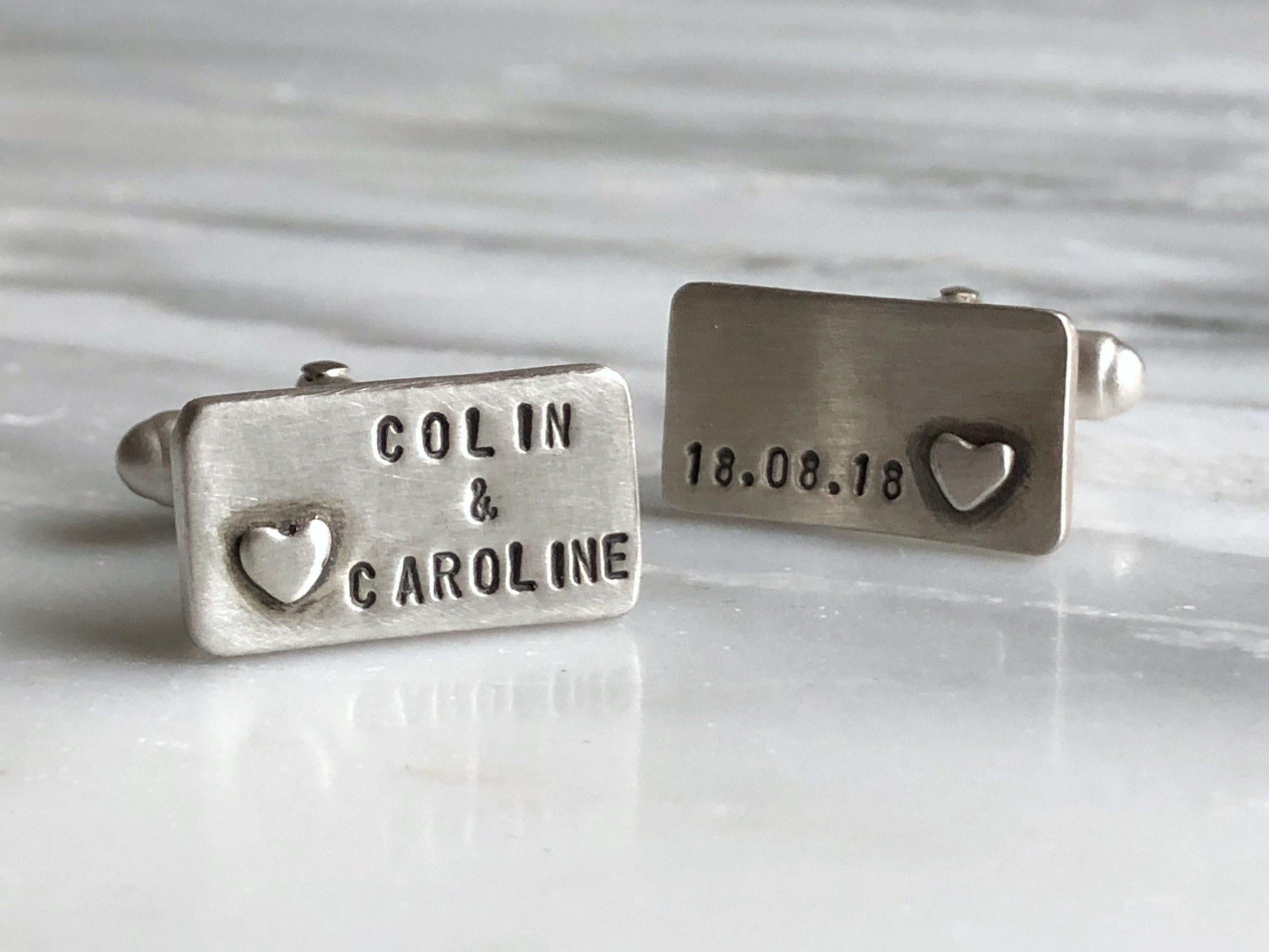 Personalized Small Heart Cufflinks | Silver Sculptor