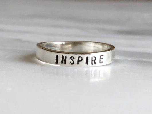 Inspire Stacking Mantra Ring | Silver Sculptor