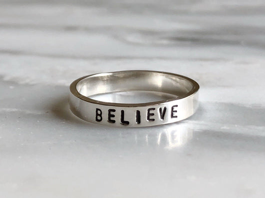 Believe Stacking Ring | Silver Sculptor