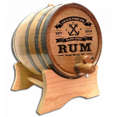 Personalized Whiskey Barrel - Rum (Anchor)