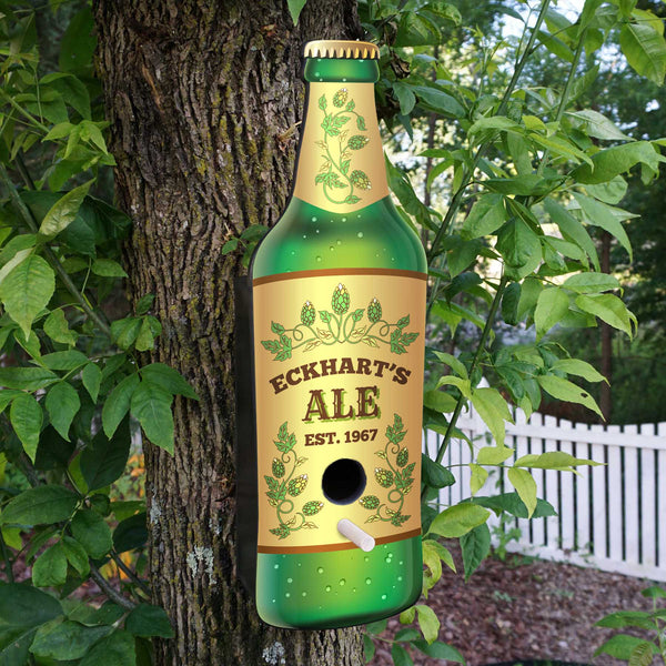 Personalized Beer Themed Birdhouse with Year