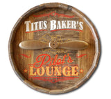 Pilot's Lounge Quarter Barrel Sign