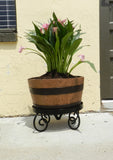 Half Barrel Planter with Wrought Iron Stand