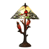 Twin Birds Stained Glass Lamp
