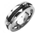 Mirror Polished Thick Black Cable Inlay Titanium Ring 7mm