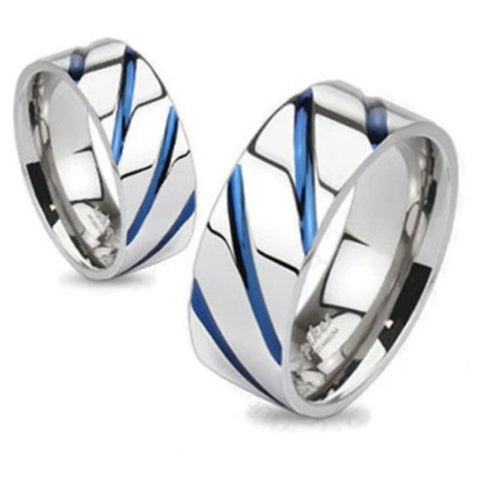 Mirror Polished Titanium Ring with Royal Blue Slash Accents