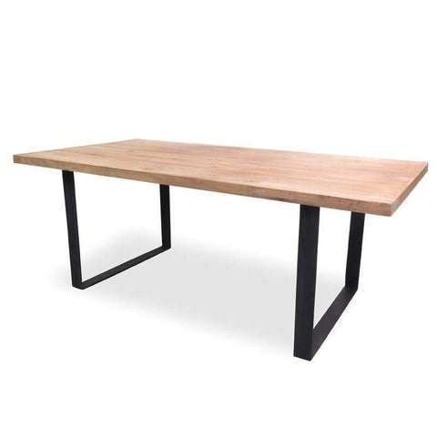 Dining Table   Dalton Rustic   Recycled Elm Wood   Steel   1.98m Sacred ...
