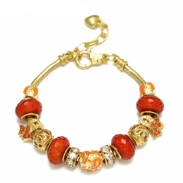 (New) Leukaemia Awareness Charm Bracelet Gold