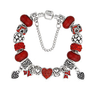 Handmade AIDS , HIV and Heart Disease Awareness Charm Bracelet 2017