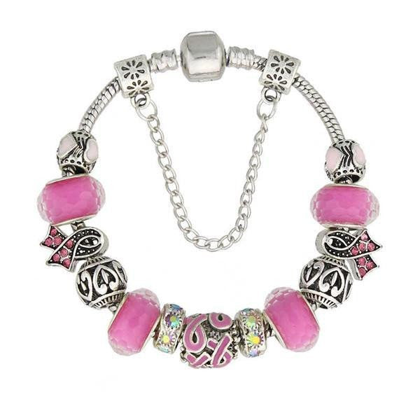 Handmade Breast Cancer Awareness Charm Bracelet Limited Edition