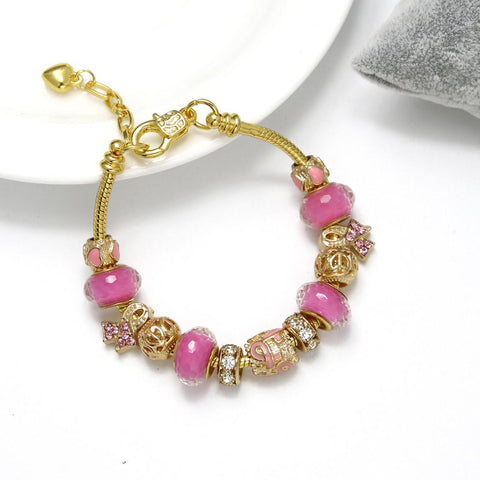 New Breast Cancer Awareness Charm Bracelet Gold Egrabber store