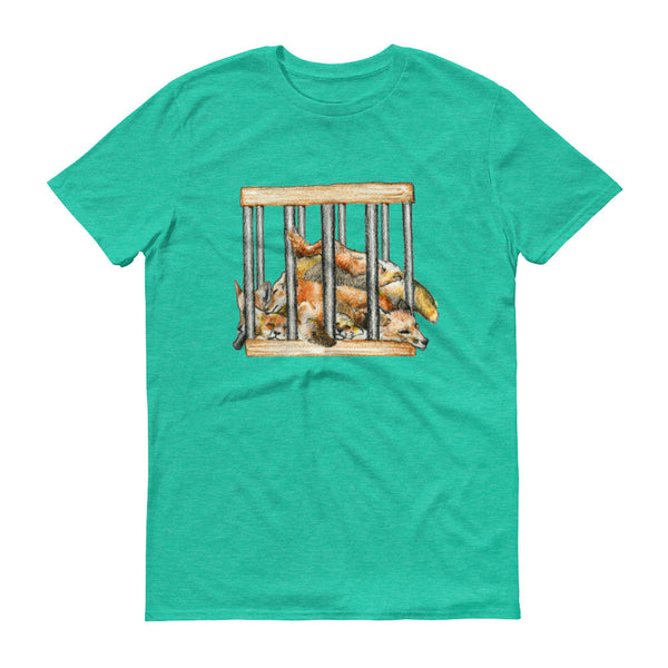 Foxes in a Box Men's T-Shirt Say No to Skinning For Fashion