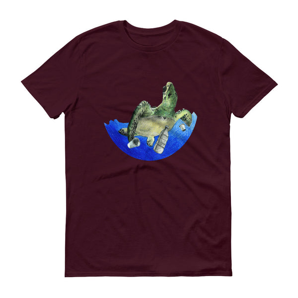 Sea Turtle Short Sleeve Men's T-Shirt Pollution Awareness