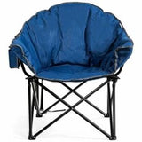 Folding Camping Moon Padded Chair with Carry Bag-Navy - Color: Navy