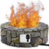 "28"" Propane Gas Fire Pit with Lava Rocks and Protective Cover - Color: Gray"
