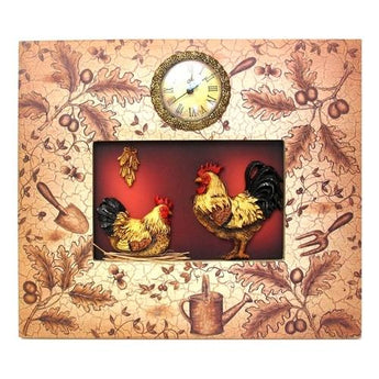 Ornate Rooster Plaque With Clock - www.myhomeandgardendecor.com