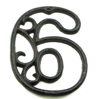 Cast Iron Number Six - www.myhomeandgardendecor.com