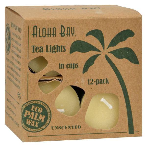 Aloha Bay - Palm Wax Tea Lights with Aluminum Holder Cream - 12 Candles - www.myhomeandgardendecor.com