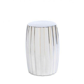 Ceramic Silver Decorative Stool - www.myhomeandgardendecor.com