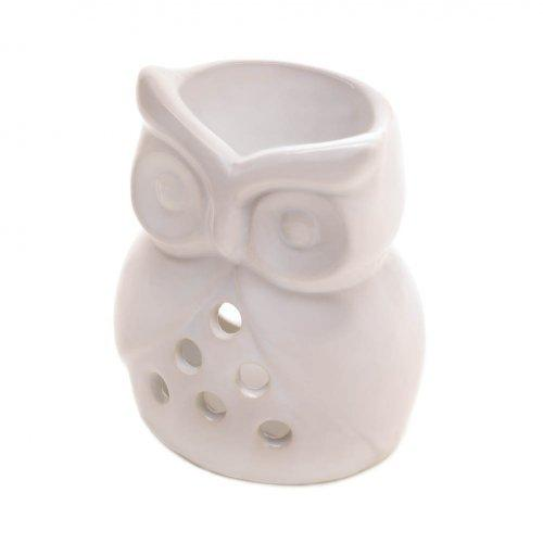 White Ceramic Owl Oil Warmer - www.myhomeandgardendecor.com