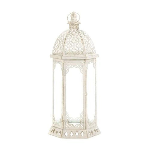 Graceful Distressed White Lantern (L) - www.myhomeandgardendecor.com