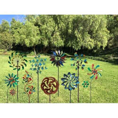 "75"" Peacock Tail Windmill Garden Stake"