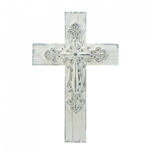 3-d Whitewashed Cross - www.myhomeandgardendecor.com