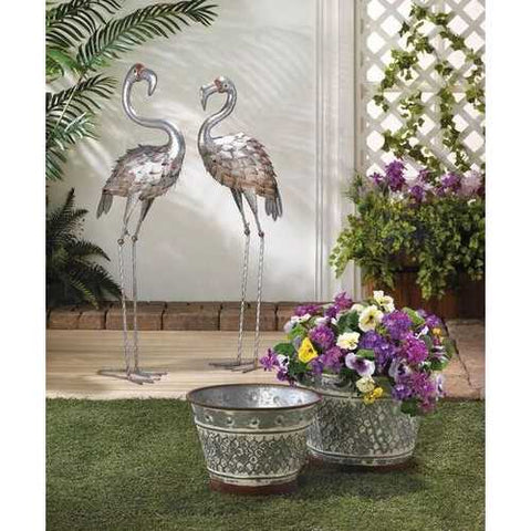 Galvanized Metal Planter Duo