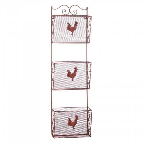 Red Rooster Triple Basket Organizer - www.myhomeandgardendecor.com