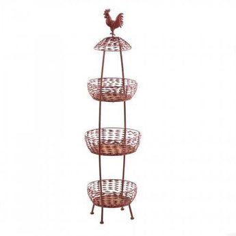 Red Rooster 3 Tier Baskets - www.myhomeandgardendecor.com