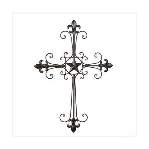 Wrought Iron Fleur De Lis Wall Cross - www.myhomeandgardendecor.com