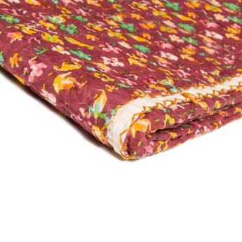 "50"" x 70"" Maroon, Kantha Cotton - Throw Blanket - www.myhomeandgardendecor.com"